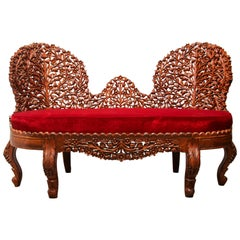 Anglo-Raj Settee with Open Back Hand Carved Tree of Life Back