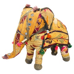 Anglo Raj Vintage Hand-Crafted Stuffed Cotton Embroidered Elephant, India, 1950