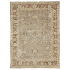 Angora Oushak Turkish Rug in Warm Colors of Taupe, Gray, Brown, Cream
