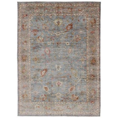 Angora Turkish Oushak Large Rug in Gray, Light Blue, and Coral