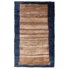 Angora Turkish Tulu Rug with Solid Field in Shades of Brown and Midnight Blue