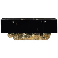 Angra Sideboard in Black with Brass Base