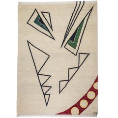 Angry Design Cream Red Green Wool Rug Carpets CC by Cecilia Setterdahl