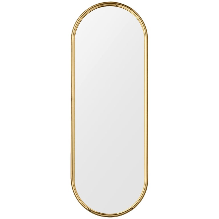 Angui Golden Oval Large Mirror For Sale