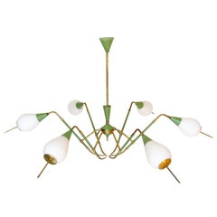 Angular 1950s Italian Spider Chandelier by Arredoluce in Green, Brass and Glass