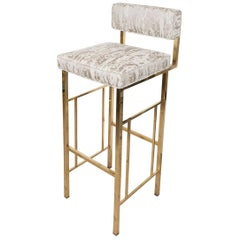 Angular Brass Bar Stool with Upholstered Seat and Back