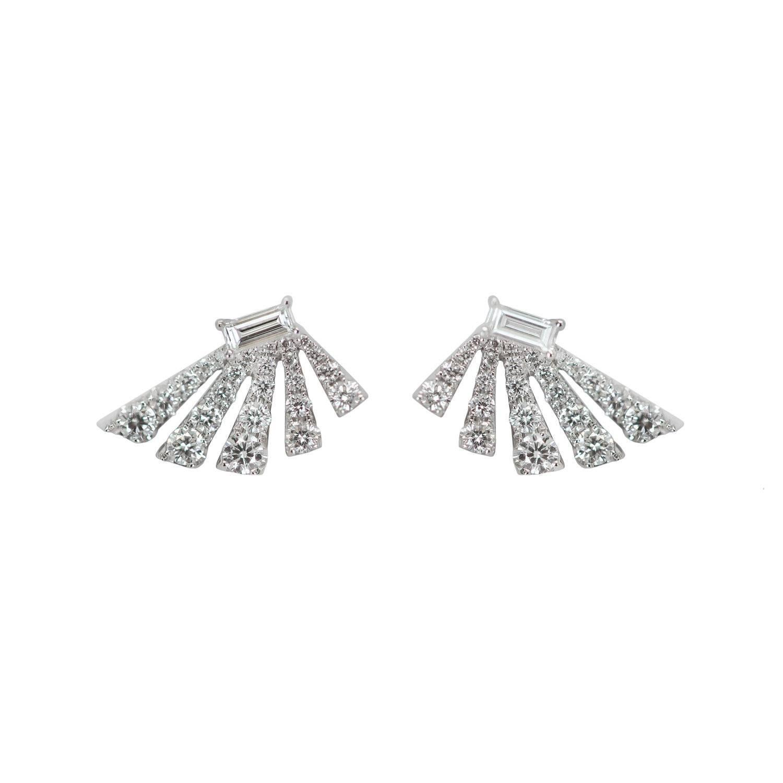 Angular Fan Diamond Baguette Earrings