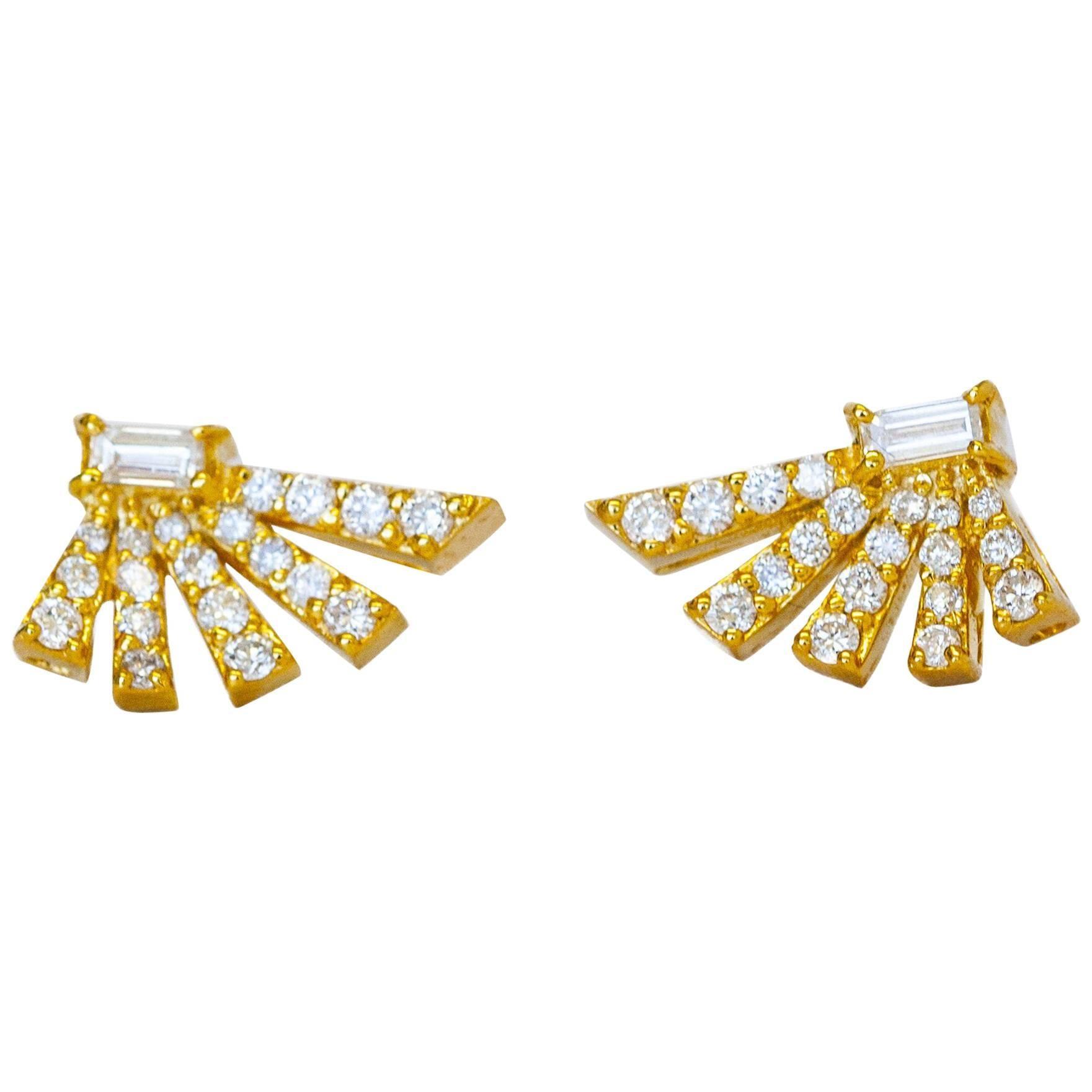Angular Fan Diamond Earrings