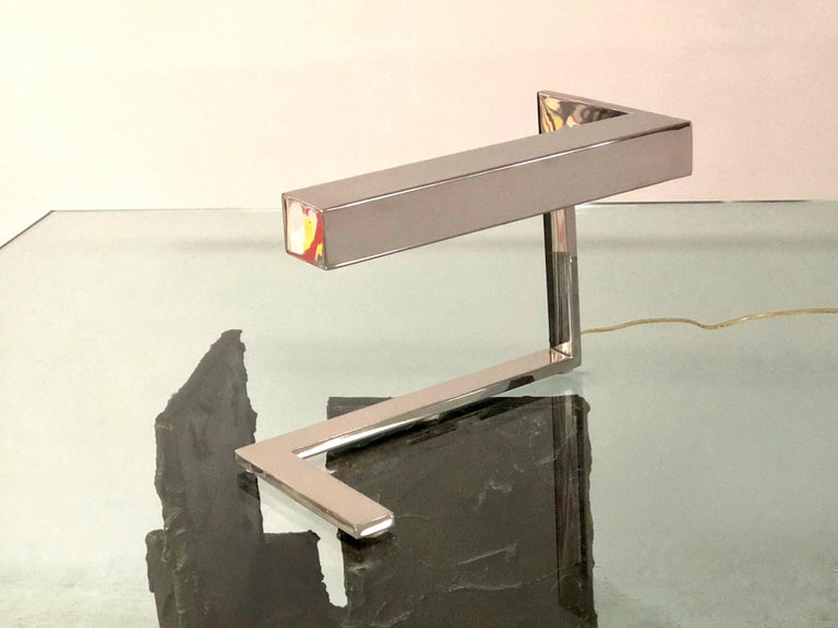 Angular Geometric Desk Table Chrome Mid Century Lamp, 1970s In Good Condition For Sale In Miami, FL