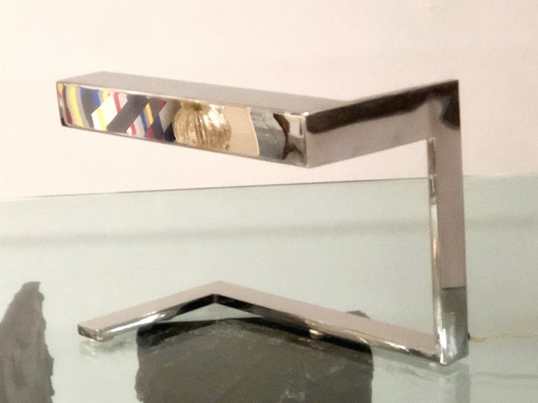 Late 20th Century Angular Geometric Desk Table Chrome Mid Century Lamp, 1970s For Sale