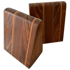 Angular Inlay Patterned Wooden Bookends with Metal Slide
