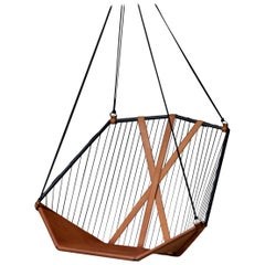 Angular Sling Hanging Swing Chair Genuine Leather 21st Century Modern