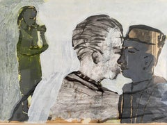 Strange Encounter.  Mixed Media on Paper. Figurative Painting
