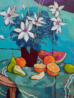 Clematis, Pears, Oranges, and Watermelon (still life, fruit, flowers, blue)