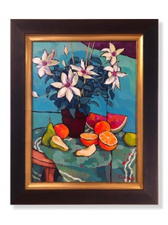 Clematis, Pears, Oranges, and Watermelon (still life, fruit, flowers, vibrant)
