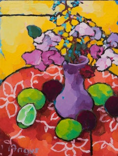 Collection of Limes and Plums Study (still life, fruit, purple vase, flowers)