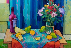 Grouping of Lemons & Pears on Blue (still life, bold strokes, vibrant color)