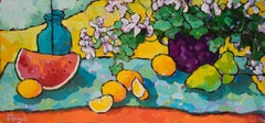 Pears, Lemons & Watermelon on Orange Table (still life, vibrant colors)