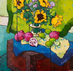 Sunflowers, Poms & Limes on Painted Box