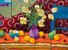 Tulips over Red & Orange with Blue Chair (still life, fruit, yellow tulips)