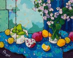 Various Fruits on Blue Cloth (still life, fruit, blue tablecloth, vibrant colors