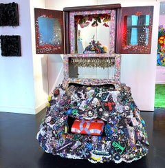 Contemporary Beaded Large Scale Assemblage Sculpture Kitsch Toys Quilt Mosaic