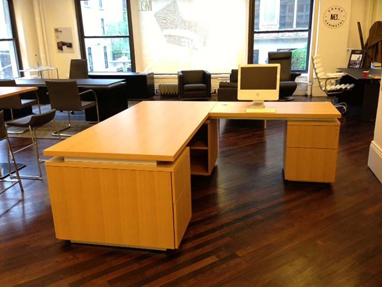 Anigre Wood Desk In Fair Condition For Sale In New York, NY