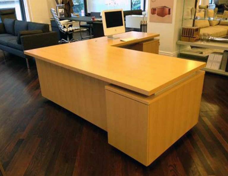 Contemporary Anigre Wood Desk For Sale