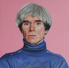 Portrait of Andy Warhol - Colorful portrait painting on pink, hyperrealist