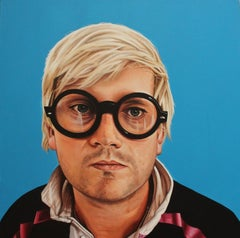 Portrait of David Hockney - Colorful portrait painting on blue, hyperrealist