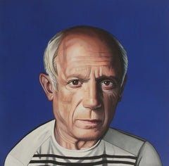 Portrait of Pablo Picasso - Hyperrealist, Colorful Painting on Blue