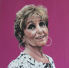 Portrait of Paula Rego - Colorful portrait painting on pink, hyperrealist