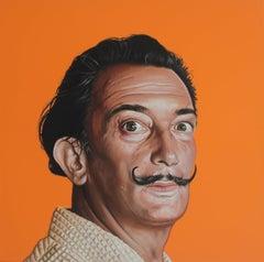 Portrait of Salvador Dalí - Hyperrealist, Colorful Painting on Orange