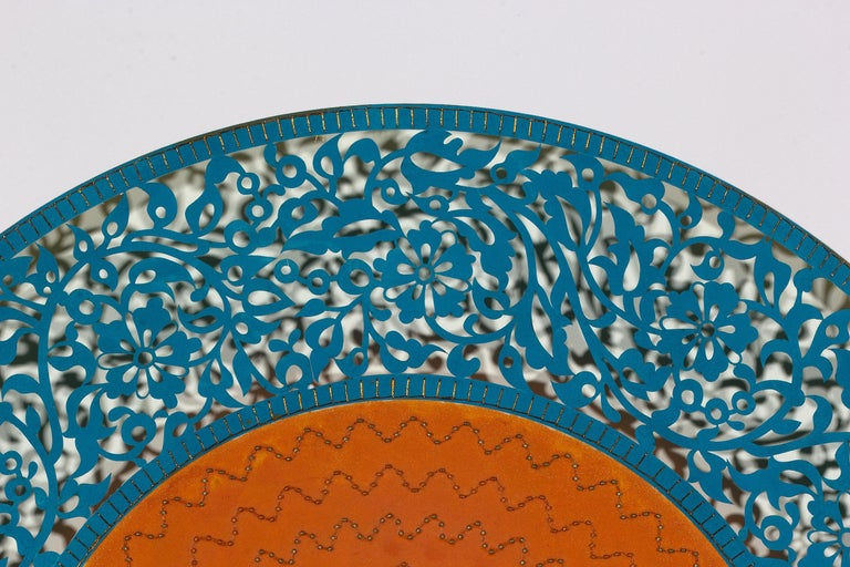 Flowers (Blue and Orange Circle) - Painting by Anila Quayyum Agha