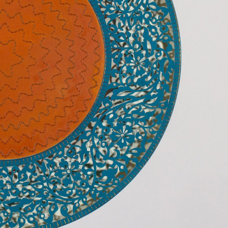 Flowers (Blue and Orange Circle) - Abstract Geometric Painting by Anila Quayyum Agha
