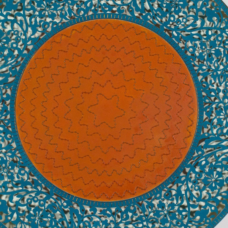 Flowers (Blue and Orange Circle) - Gray Abstract Painting by Anila Quayyum Agha