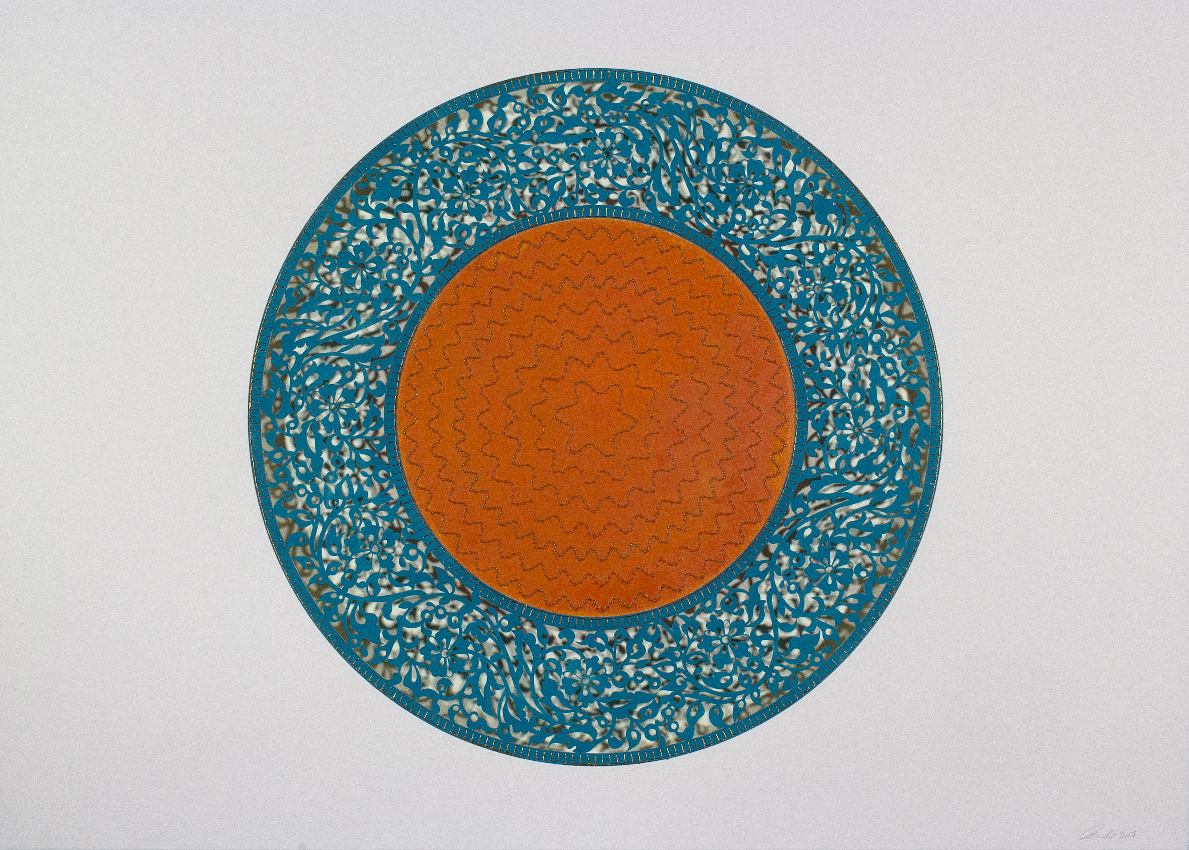 Flowers (Blue and Orange Circle)
