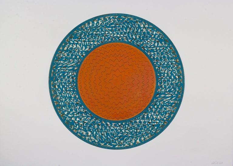 Anila Quayyum Agha Abstract Painting - Flowers (Blue and Orange Circle)