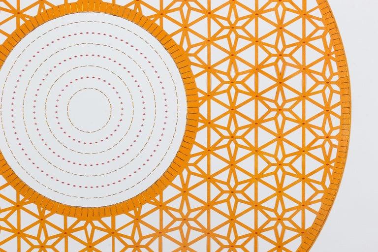 Flowers (Orange Circle) - Painting by Anila Quayyum Agha