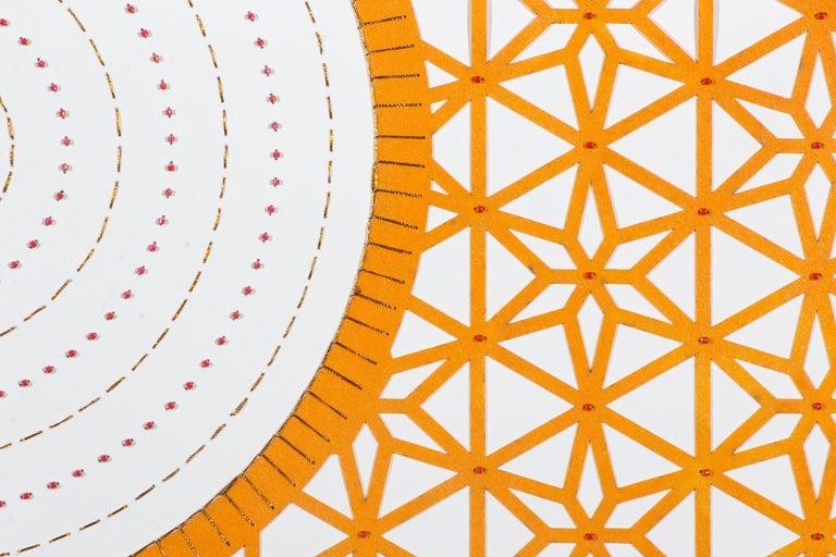 Flowers (Orange Circle) - Abstract Geometric Painting by Anila Quayyum Agha