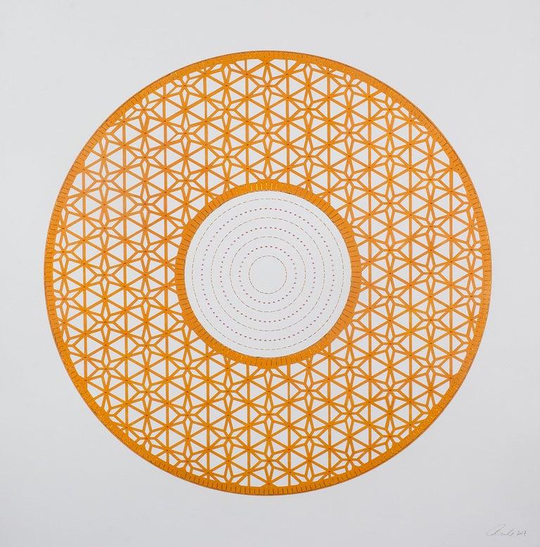 Anila Quayyum Agha Abstract Painting - Flowers (Orange Circle)