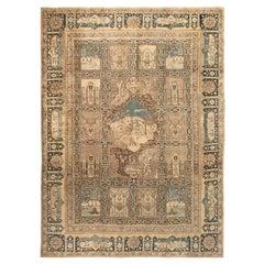 Animal, Botanic Motifs Beige, Brown, Dusty Blue Antique Persian Tabriz Wool Rug