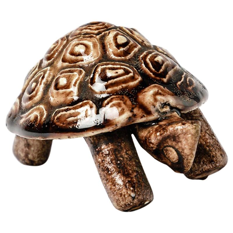 Animal Ceramic Sculpture by Accolay Midcentury Tortoise Brown Pottery Color