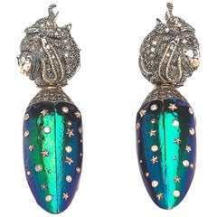 Animal Earrings Scarab Wings