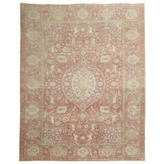 Animal Motif Rose Lavender Turkish Room Size Rug, 20th Century