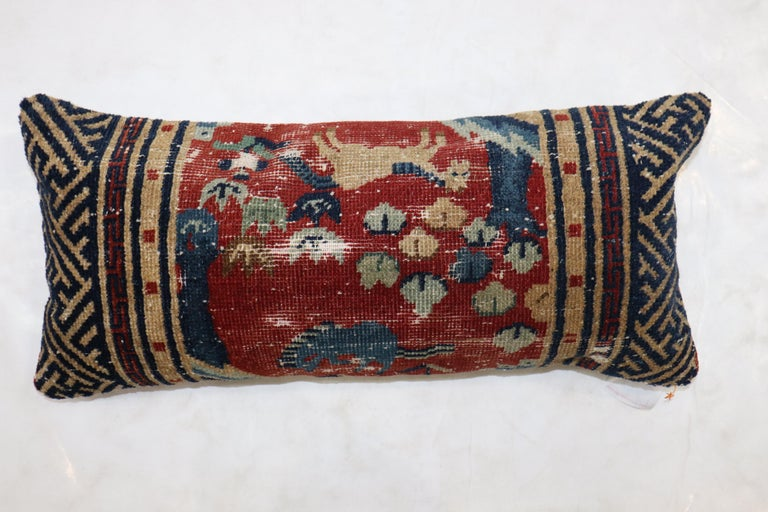 Animal Motif Tibetan Bolster Size Pillow In Fair Condition For Sale In New York, NY