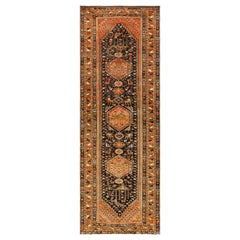 Animal Motif Vintage Persian Qashqai Rug. Size: 3 ft 5 in x 9 ft 8 in