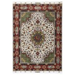 Animal Motif Vintage Tabriz Persian Rug. Size: 9 ft 10 in x 13 ft 10 in