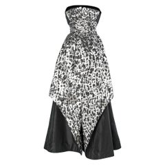 Animal pattern silver and black lurex, cocktail bustier dress Lawrence