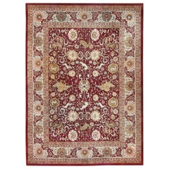 Animal Patterned Room Sized Antique Indian Agra Rug. Size: 10 ft x 13 ft 8 in